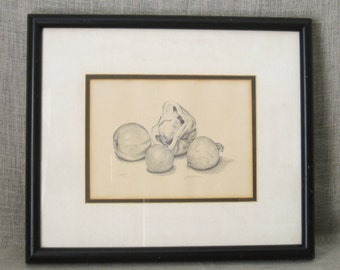 Still Life , Drawing on Paper , Art , Fine Art , Pencil Drawing , Still Life , Vegetables , Handmade , Original , Framed , Vintage Art