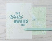 world awaits you letterpress card