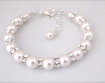 Bridal pearl bracelet wedding jewelry bridal bracelet Swarovski pearl and rhinestone bracelet Bridal Jewelry