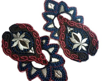 Antique Edwardian Embroidered Applique - Antique Trim - Art Deco Applique - Gold Metallic Thread in Rose, Blue, Pale Grey - Priced for One