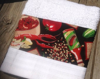 Cajun decorative kitchen hand towel-so cute and cajun.