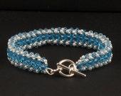 Aquamarine Swarovski Crystal with Pearls Bracelet - 7 inches