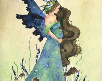 Fairy Art Original Watercolor Painting - 9x12 - Fairy Mother - fantasy. woodland. motherhood. pregnancy. whimsical. blue. green. earthy