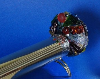Brass Kaleidoscope with s silver metal decorative metalwork