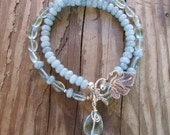 """Handcrafted  Aquamarine Beaded Necklace with matching double wrap bracelet """"Cool Water"""""""