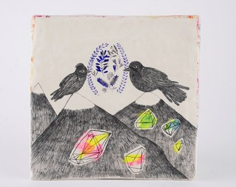 Birds on Mountain Original Pencil Illustration, Air Dry Clay, Geometry, Couple Drawing, Ceramic Sculpture,Kunst, Wall Hanging Decor,Ornament