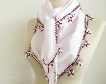 White scarves-Square scarves-Turkish Oya  Scarf..wedding gift -asuhan-woman scarf-cotton scarf