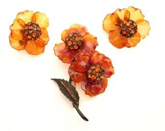 Vendome Flower Pin Earrings in Amber  Lucite Orange Rhinestones