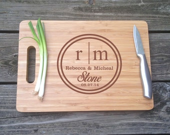 Large Monogrammed Cutting Board -  Personalized Engraved BAMBOO Cutting Board 13 X 9.75 X .5 Wedding Gift House Warming Gift Monogram