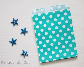 12 pcs - Mint Green Paper Bags - Dots Paper Bags - Treat Bags - Favor Bags - Party Supplies - Ready to ship