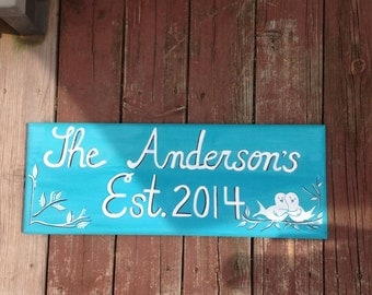 Custom Family Name House Sign Wood Plaque