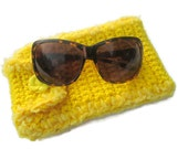 Sale Crocheted Sunglass or Glasses Case Bright Yellow, Button Closure Yellow Glasses Case