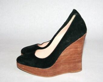 Beautiful Vintage Black Suede Platforms- Size EUR 38