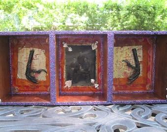Memento mori, shadow box, assemblage, creepy home decor