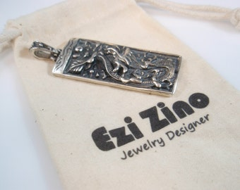 Original Ezi zino dog tag dragon  Pendant Handmade solid Sterling Silver 925