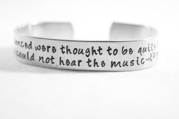 """Hand stamped Aluminum Cuff Bracelet - 1/2"""" wide - Dance"""