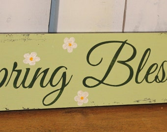 Spring Blessings/Spring Decor/Sage Green/Mantel Sign/Shelf Sitter/Spring Sign