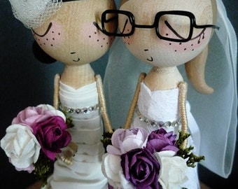 Wedding Cake Topper with 2 Custom Wedding Dresses- Custom Keepsake - MilkTea