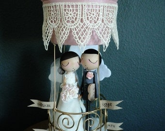 Wedding Cake Topper with Custom Wedding Dress with Hot Air Balloon by MilkTea