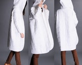 White Hooded long coat jacket