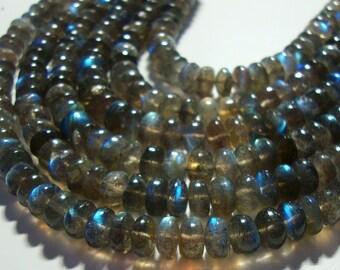Gorgeous Firey Blue Green Flash Labradorite Smooth Rondelle, 1/2 Strand, 7.5-8x4-5mm
