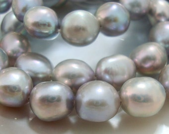Silvery Gray Grey Smooth Baroque Nuggets freshwater Pearl, Wonderful Lustrous, Full Strand, 8-9mm - 25% off sale - a26-1