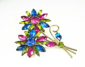 Vintage Brooch Rhinestone Hot Pink Cobalt Lime Spring Flower Jewelry
