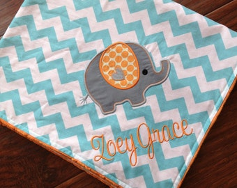 Personalized Baby Blanket- Minky Baby Blanket- Chevron Blanket- Elephant Applique Baby Blanket- Custom Blanket-