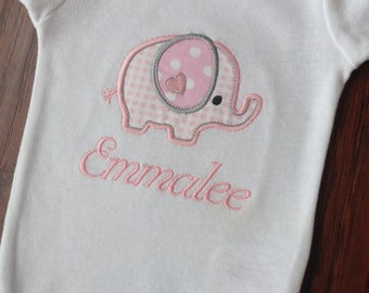 Elephant Bodysuit -Personalized Embroidered Elephant Bodysuit-   Elephant Bodysuit- Applique Elephant Bodysuit