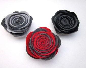 Grey Flower -- Felt Brooch Pin -- 2 Tone Pin -- Rolled Flower -- Grey Lapel Pin -- Dark Flower Brooch -- Grey Flower Pin -Grey Red Black Pin