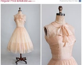 25% OFF SALE Vintage 1950s Dress : 50s Sorbonne Silk Organza Party Dress