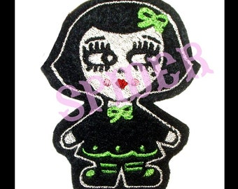 Gothie Dolly Patch Embroidered Iron on Patch Embroidery Spooky Cutie Patches  Lime Green