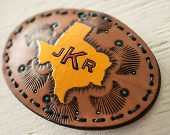 Custom Leather State or Country Shape Belt Buckle - Unisex hand tooled - Custom OVAL Large Buckle - your choice of stain color and text