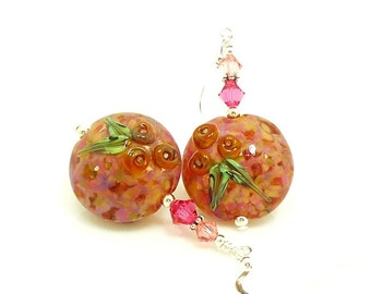 Peach Pink Floral Earrings, Colorful Flower Earrings, Lampwork Earrings, Glass Bead Earrings, Beadwork Earrings, Glass Earrings