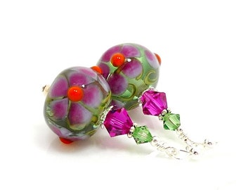 Pink Floral Earrings, Colorful Earrings, Lampwork Earrings, Glass Earrings, Glass Bead Earrings, Beadwork Earrings, Lampwork Jewelry
