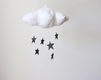 Graphite Black Star Cloud Mobile- modern fabric sculpture for nursery decor in white linen and metallic faux leather- Free US Shipping