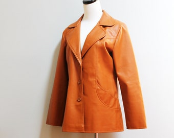 SALE vintage sepia brown vegan leather jacket // eco friendly tan coat