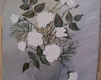 Oil Painting, Vintage Oil Painting, Roses, Vase, Roses