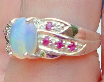 Sz 7, Welo Opal Ring, Sterling Silver Setting, Ruby Accents,Lavender,Peach,Teal,Blue,Opal Ring,Natural Gemstones,Mystical Gem Ring