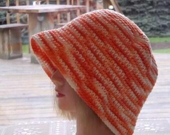 Orange Beach Hat Cool Cotton Crochet Cloche Hat,Summer Beach Hat,Variegated Orange White,Ready to Ship,