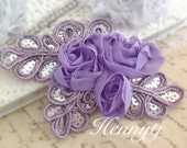"NEW: ""LAVENDER / Violet"" Chiffon and Sequins Leaf Polyester Fabric Rose Appliques. Hair accessories"