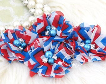 4 pcs Aubrey US Flag Blue Red White Chevron Patterned - Soft Chiffon with pearls rhinestones Layered Small Fabric Flowers, Hair accessories