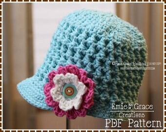 Newsboy Hat Crochet Pattern, 8 Sizes from Newborn to Adult, ADDISON - pdf 206