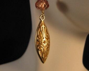 Gold Filigree Earrings,drop earrings,dangle earrings,gold earrings, filigree earrings, cubic zirconia, cz earrings, chandelier earrings