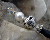 Hair Stick Ornate Silver Plate with Swarovski White Pearl and Crystal AB - Neorah