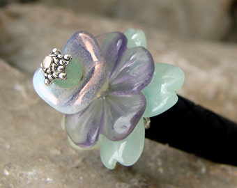 Green Aventurine and Amethyst Carved Flower Japanese Hair Stick Geisha Hair Sticks Floral Hairstick Kanzashi Hair Pins Pic Chopsticks  Akina