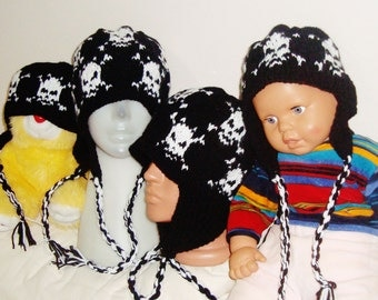 Custom Knitted Hats, Family Hats for Dad hat, Mom hat and two Childrens hats with Earflap Hats White Skull Knit Hats wool hats