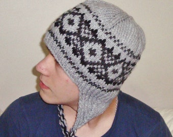 Men's Knit Hat - Grey / Black Knitted Beanie // Gifts for Him // gifts under 50 // hunter gifts men