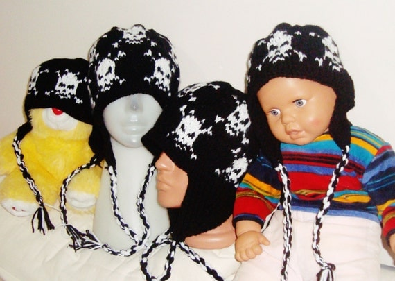 Four Family Hats for Dad, Mom and two Childrens hats with Earflap Hats White Skull Knit Hats wool hats knitted