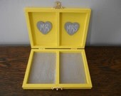 Rustic Personalized Ring Box His and Her's Custom color engraved, ring bearer pillow, chalkboard or wood tag gray and yellow wedding
